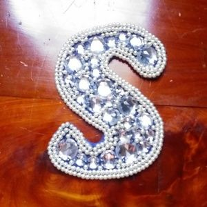 Other - Sew on applique S rhinestone faux pearl